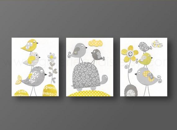 Girl Nursery Wall Art Nursery art baby nursery decor girl room Kids art children wall art yellow gray turtle bird Set of three prints