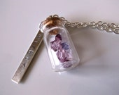 Wishes necklace, purple Swarovski crystals in a tiny glass jar, stamped charm with wishes, charm necklace