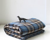 vintage English wool plaid fabric. 1960s. 2.5 yards in  blue, black, grey tartan