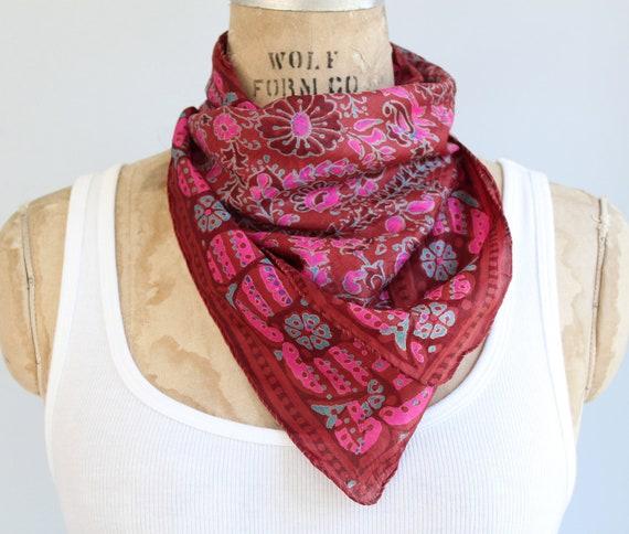 Vintage silk batik scarf. 1970s India. Russet, aqua, pink. Boho accessory / hippie shawl / fuschia chestnut / the SWEET CURRY scarf