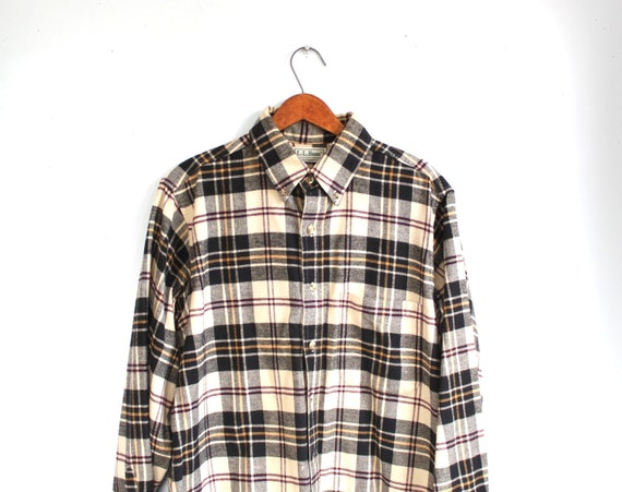 Sale / Vintage LL Bean flannel shirt. Men's med. Black white wine plaid. Rustic fall, woodland / the campfire vittles shirt