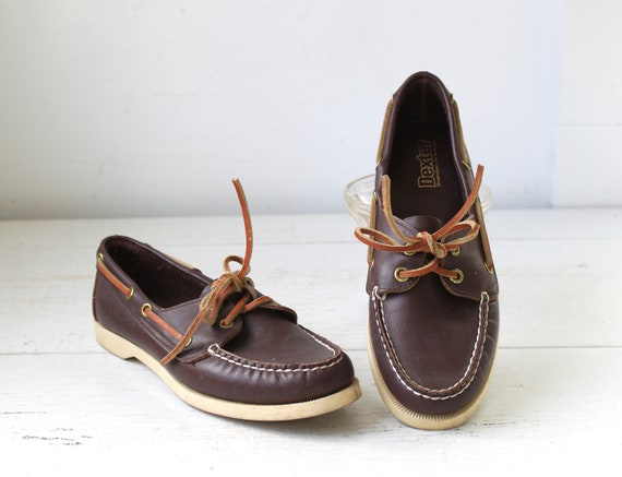 vintage boat shoes. Women size 7.5. 1980s Dexter. Coffee brown leather. Nautical preppy / the LOBSTER ROLL mocs