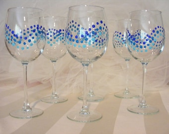 hand painted blue polka dot wine glasses -   perfect for wedding bridal shower bachelorette  girls night out birthday party
