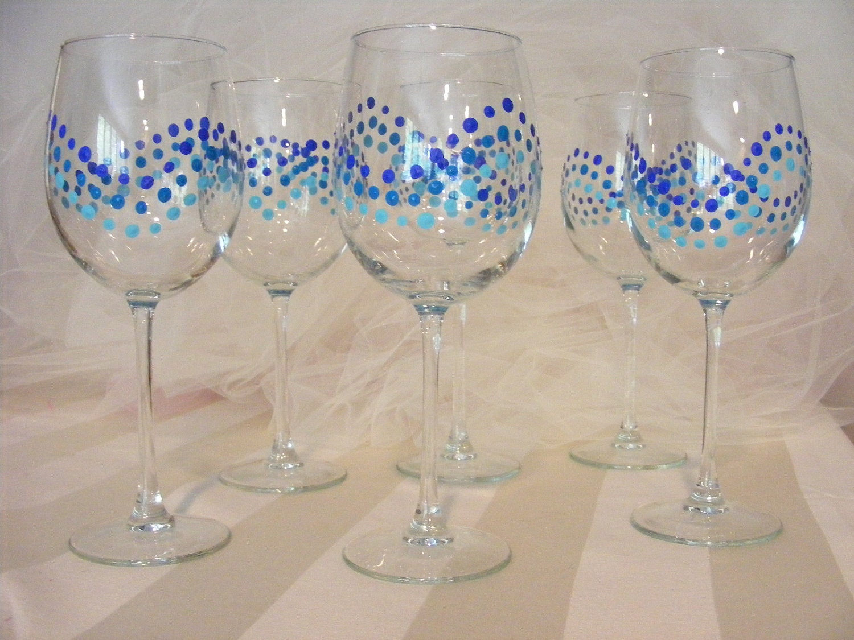 Hand painted blue polka dot wine glasses perfect for for Painted wine glasses