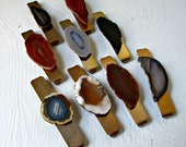 Earth Tones And Neutrals. Agate Slice Geode Stone & Vintage Brass Barrettes. Ladies Gift. Bridesmaids. Hair Jewelry.