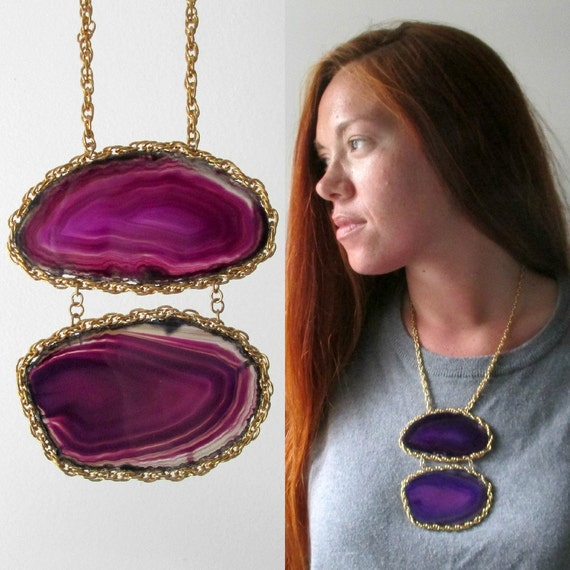 Agate Stone Geode Statement Necklace. Purple Moon.