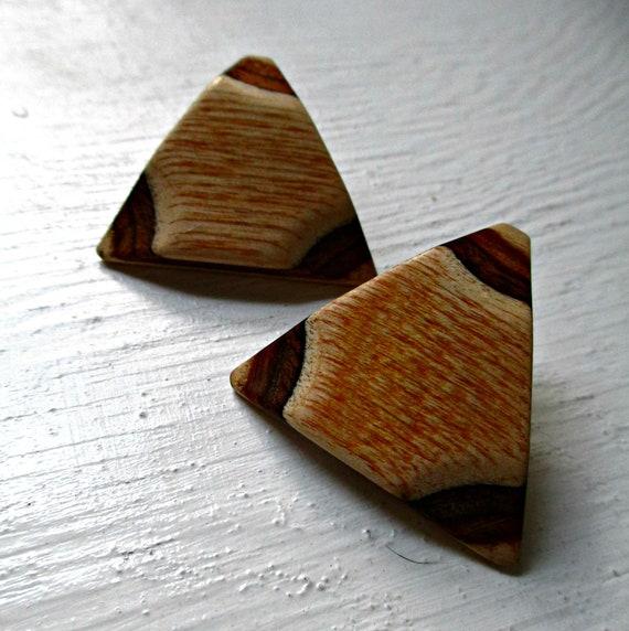 Vintage Wood Post Earrings
