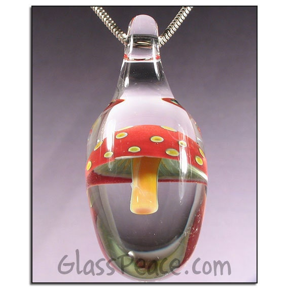 Magic Mushroom Pendant lampwork jewelry focal necklace bead - Glass Peace glass jewelry (4681)
