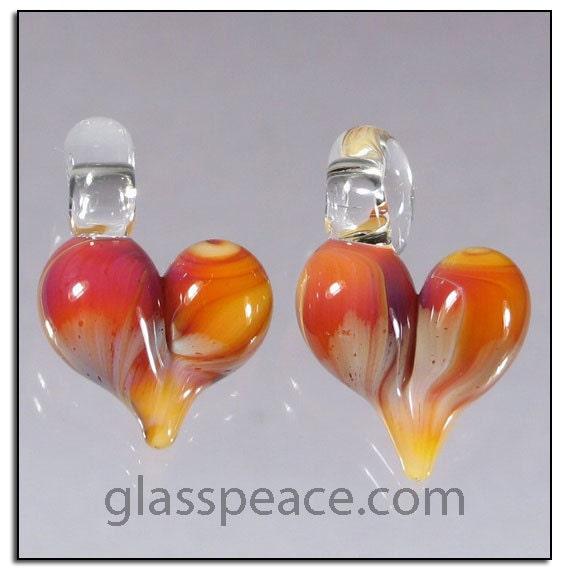 Pink Glass Heart Bead Pair - Handmade Jewelry Supplies - Boro Lampwork Beads (3086)