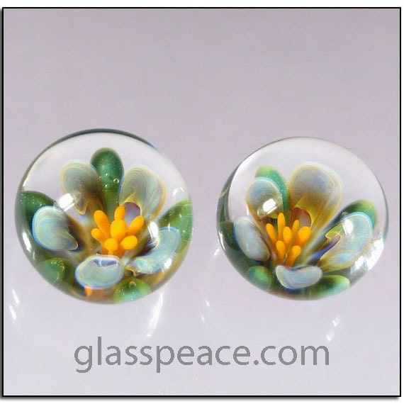 Glass Flower Cabochon Pair - Handmade Jewelry Supplies - Boro Lampwork Glass Cabs (3116)