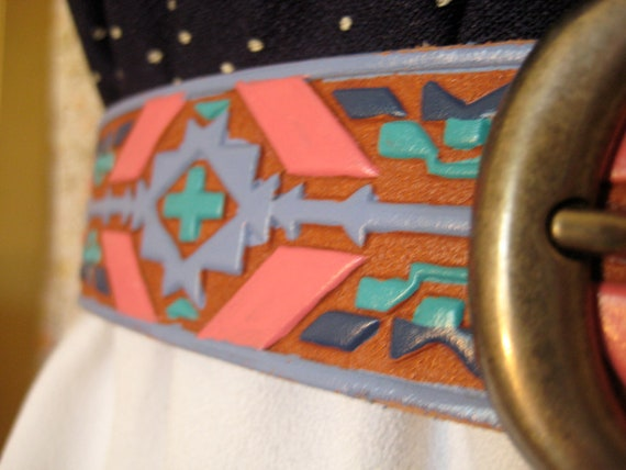 Native American print leather belt 34in