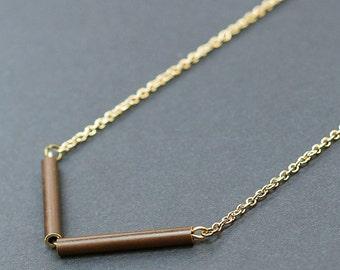 Brass Chevron Necklace- Upcycled Oxidized Brass Bar Necklace, Simple Necklace, Minimal Necklace, Geometric Jewelry by Tanith Rohe