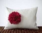 Pink Berry Felt Flower DECORATIVE PILLOW COVER in Cream Linen by JillianReneDecor (12x16) Cranberry