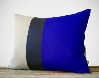 Color Block Pillow in Cobalt, Navy and Natural Linen (16x20) by JillianReneDecor Beach House Home Decor - Striped Trio - Indigo Blue