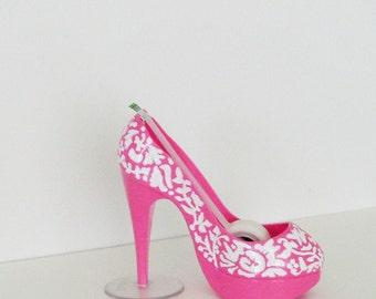 Pink Stiletto Shoe Tape Dispenser / Hand Painted White Floral Damask Pink Heel / Unique Feminine Office Decor / Gift Under 25