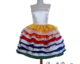 summer sale Rainbow Cake Layered Dress in Lavish Satin. Custom in your size