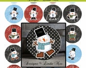 BUTTON Images 2.25 inch round 2.625 overall size - Winter Cheer Snowman Collage Sheet AMERICAN BUTTON Machine