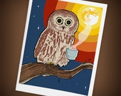 Wired Coffee Owl Blank Greeting Card, Mini Art - Size A2, Rainbow Full Moon - Gifts for Coffee Lovers