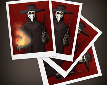 The Plague Doctor, Halloween, Macabre, Size A2 Blank Greeting Card - SET OF FOUR