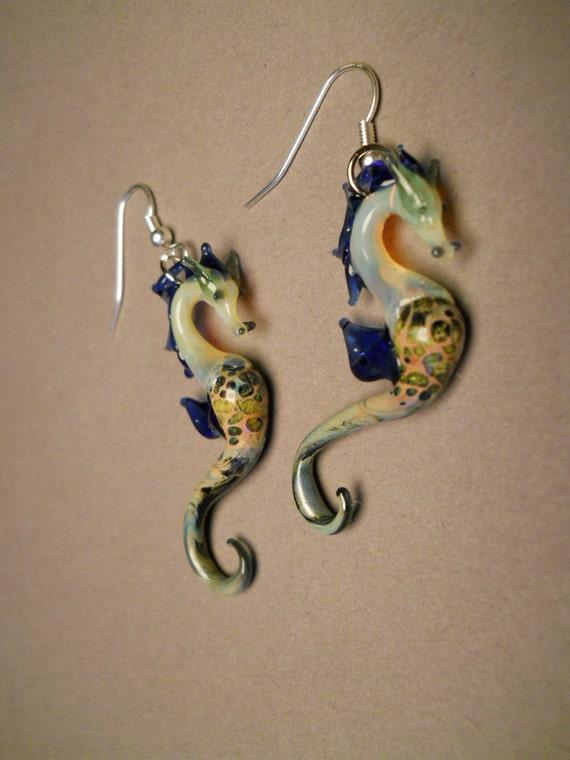 Blown Glass Sea Horse Earrings