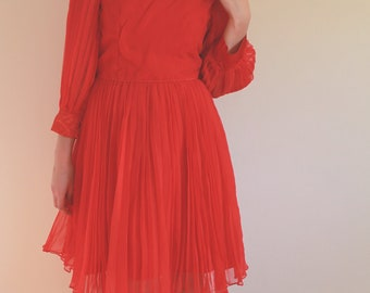 1960s Red Pleated Cocktail Dress