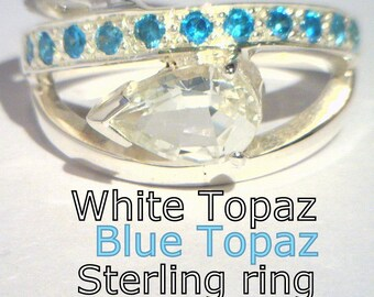 Clear White Topaz and Swiss Blue Topaz Handmade 925 Sterling Ladies Ring size 8