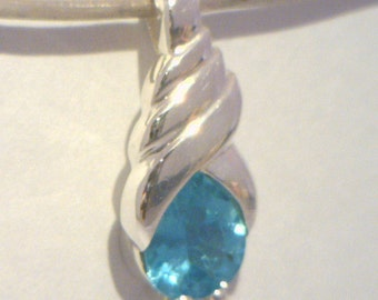 Windex Blue Green Apatite Handmade Sterling 925 Silver Ladies Solitaire Pendant