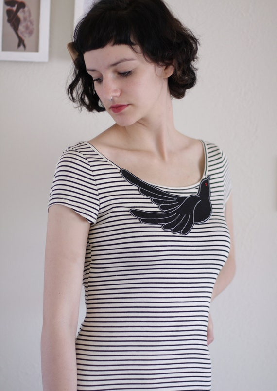 Stripe dress . Knee length Dress . High Low Stripe Dress -Big fan of stripes and bird - size Large