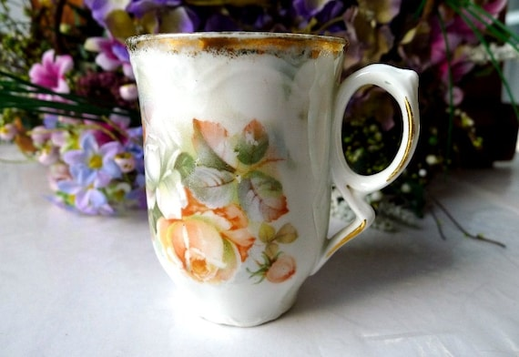 Antique Chocolate Cup Hand Painted Bavarian China Pre 1940 Pale Peach Roses and Green M. W. Co. Germany 1910's to 1930's