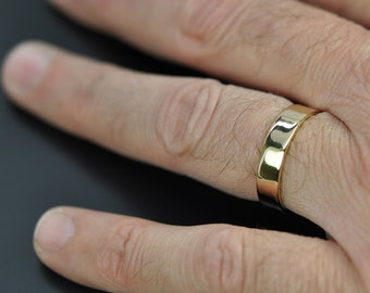 5mm Wide Mens Gold Ring, 18K Yellow Gold Wedding Band, Recycled Gold, Eco Friendly, Custom Made, Sea Babe Jewelry
