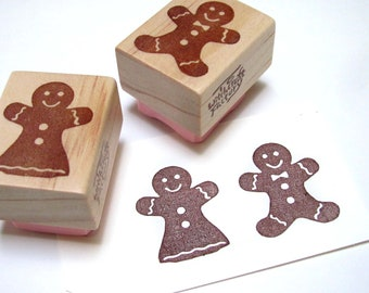 Gingerbread Man Stamp Set of 2, Hand Carved Rubber Christmas Stamp