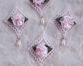 4 pc PINK Embroidered Satin Rose Bud Flower Applique Pearl Beaded Jewelry Bow Quilt Baby Scrapbooking