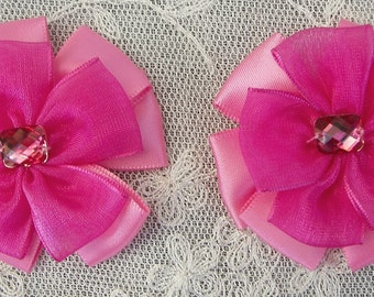 2pc Beaded w Stone Hot Pink Organza Ribbon Flower Applique Baby Doll Bridal Corsage Bow