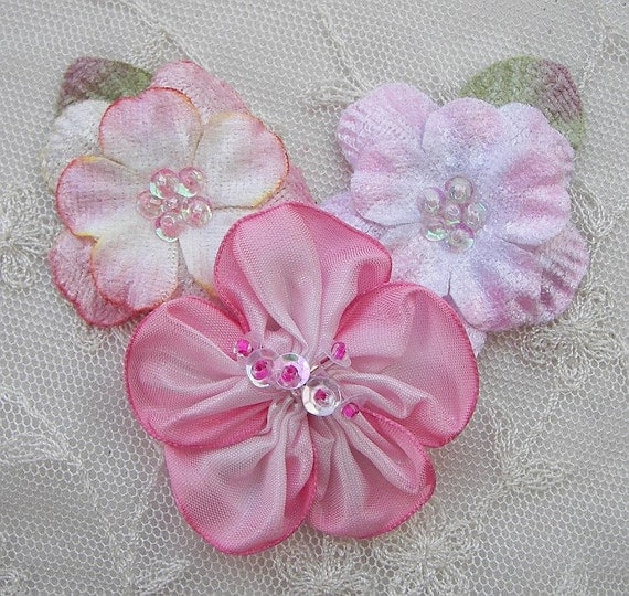 Pink Velvet Ombre Wired Ribbon Beaded w Sequins Glass Bead Flower Applique Corsage