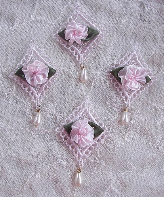 Pc pink embroidered satin rose bud flower by