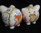 personalized piggy bank treetop woodland creatures