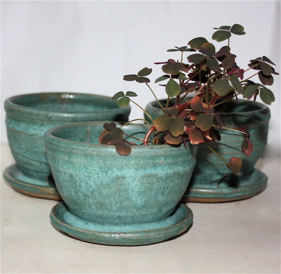 Cerulean Planter Trio Three by Four  Inches