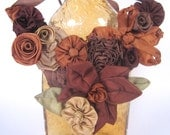 Brown floral bib statement necklace -- French ribbon flowers in warm brown hues