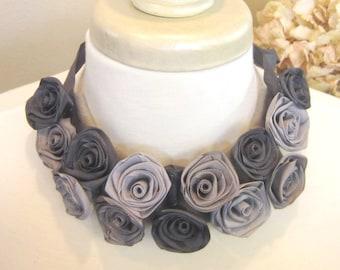 Bib necklace of ribbon roses -- French ribbon roses in gray hues