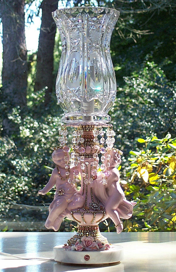 Custom Jeweled Cherubs and Crystal Accent Lamp