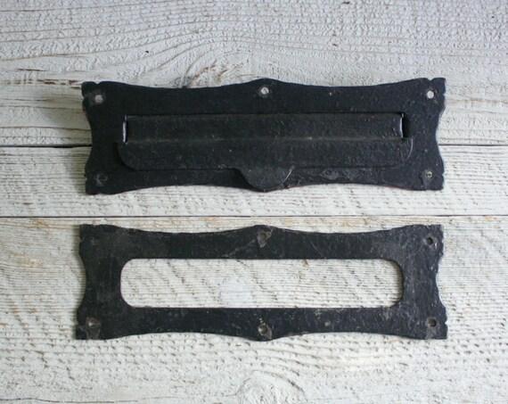 Vintage Black Metal Two Piece Mail Slot
