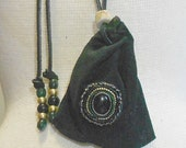 Beaded Onyx / Black Suede Leather Necklace Pouch - Adjustable Length - Medium Size 10.5 x 10 cm. ( 4 1/8 in.x 4 in.) - OlyTeam