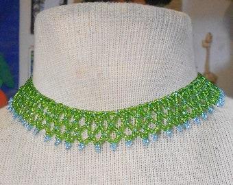 Beaded Choker - Lime Green / Turquoise Netted Weave  - Adjustable Length - OlyTeam