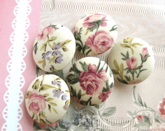 Retro Wedding Pink Cream Flower Floral Fabric Covered Buttons, Pink Cream Rose Flower Fridge Magnets, Flat Backs, 1.2 Inches 5's