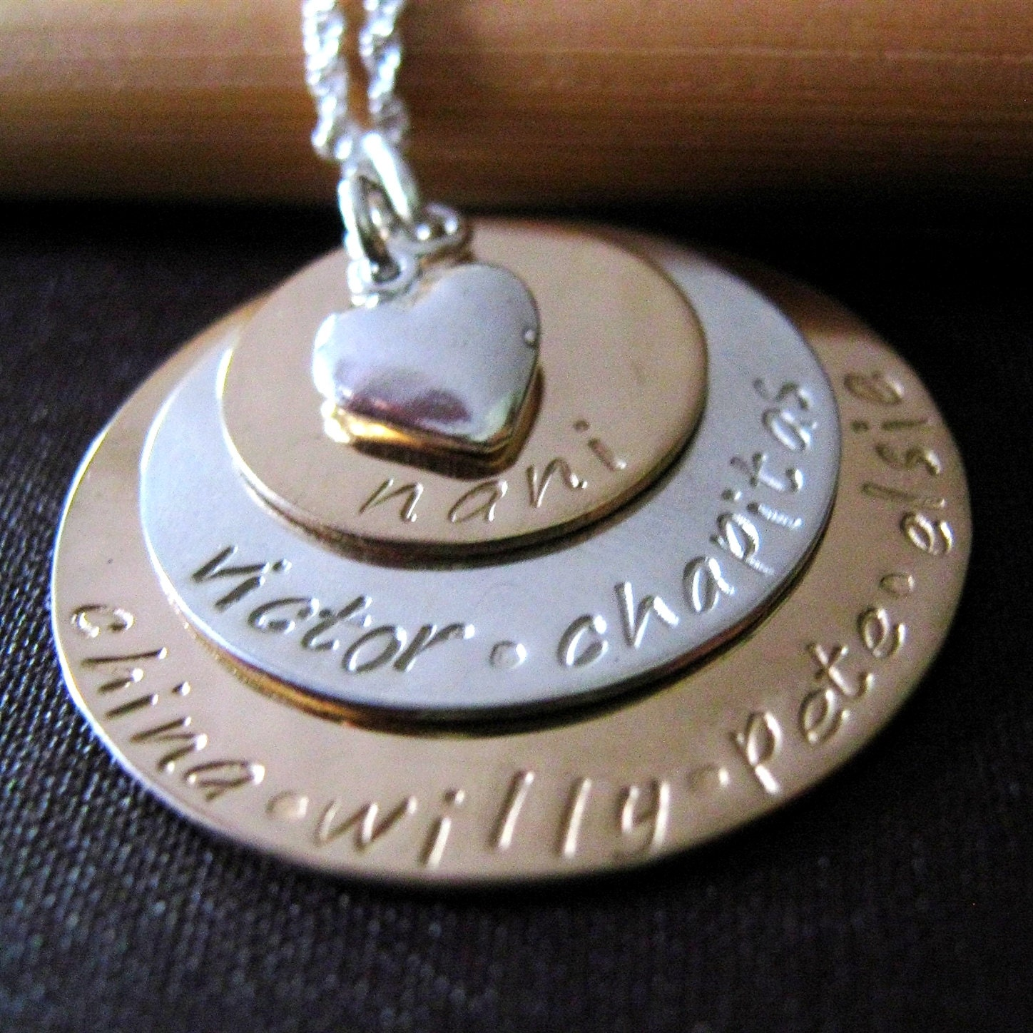 Grandmother Necklace Gold Mothers Necklace Hand Stamped