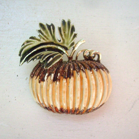RESERVED FOR MB Vintage fall enamel pumpkin brooch or pin perfect for Halloween or Thanksgiving