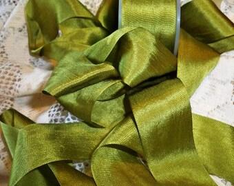 """Moss silk ribbon 1 1/4"""" 2 yard put-up"""