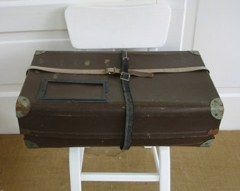 Vintage Brown Case, Mailing Box, Brown Suitcase, Postal Package, Industrial Storage