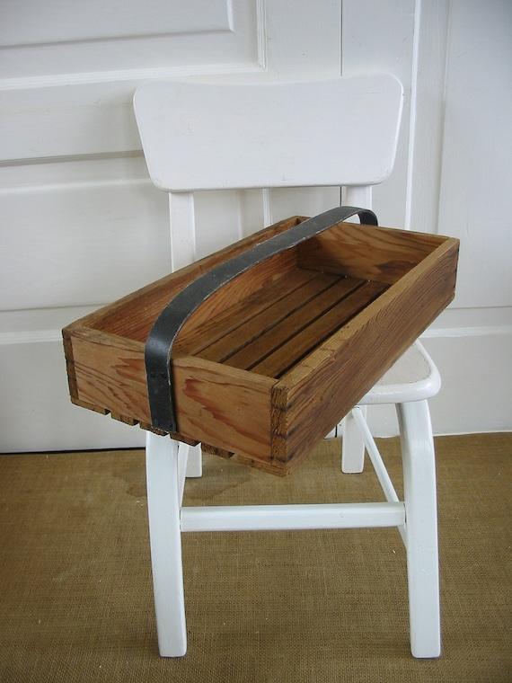 Wood Box Tote Crate Industrial Storage Primitive Rustic Vintage