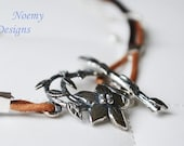 Fall Bracelet Leather and silver flower and leaves CUSTOM ONLY AUGUST